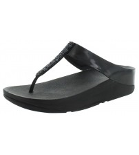 Fitflop Fino Black Womens Leather Sandals Flip Flops