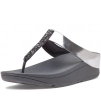 Fitflop Fino Pewter Womens Leather Sandals Flip Flops
