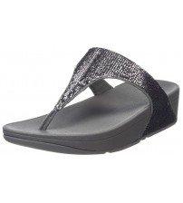 Fitflop Glitterball Black Silver Womens Leather Sandals Flip Flops