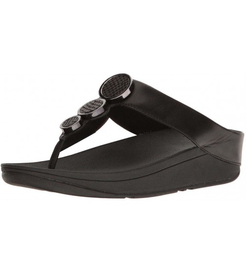 Fitflop Halo Black Womens Leather Sandals Flip Flops