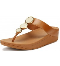 Fitflop Halo Caramel Womens Leather Sandals Flip Flops