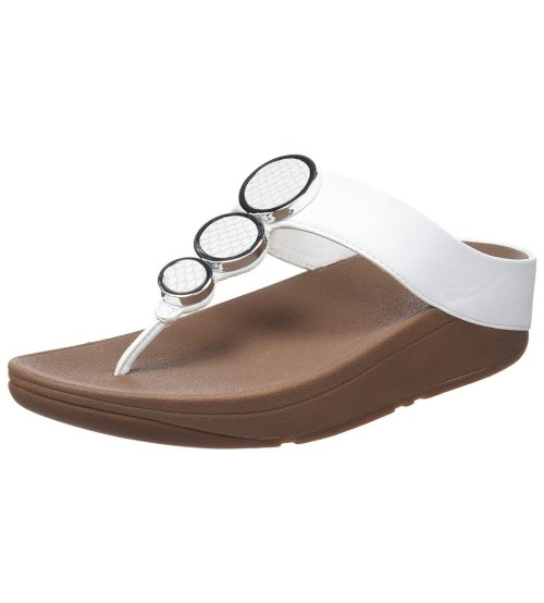 c9e5d3b90 Fitflop Halo Urban White Womens Leather Sandals Flip Flops