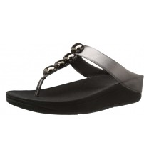 Fitflop Rola Black Grey Womens Leather Sandals Flip Flops