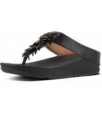 Fitflop Rumba Black Womens Leather Sandals Flip flops