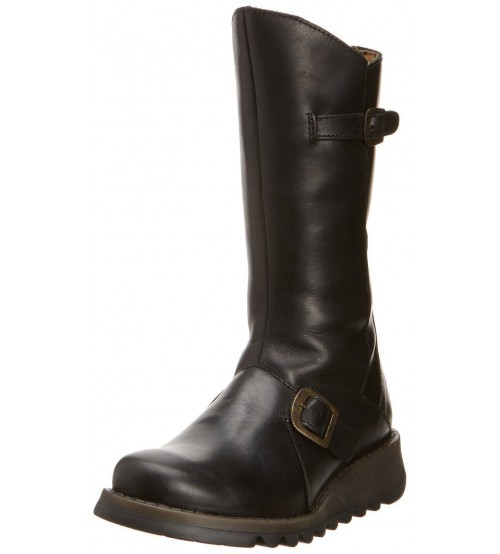 Fly London Mes 2 Black Leather Womens Mid Calf Boots
