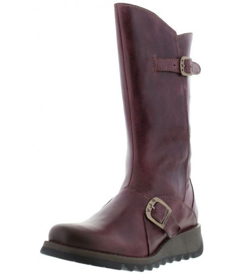 Fly London Mes 2 Purple Leather Womens Mid Calf Boots