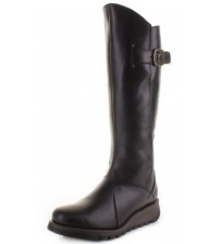 Fly London Mol 2 Black Leather Womens Knee Hi Boots