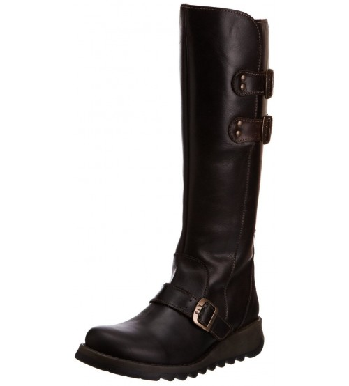 Fly london Solv Dark Brown Leather Womens Knee Hi Boots