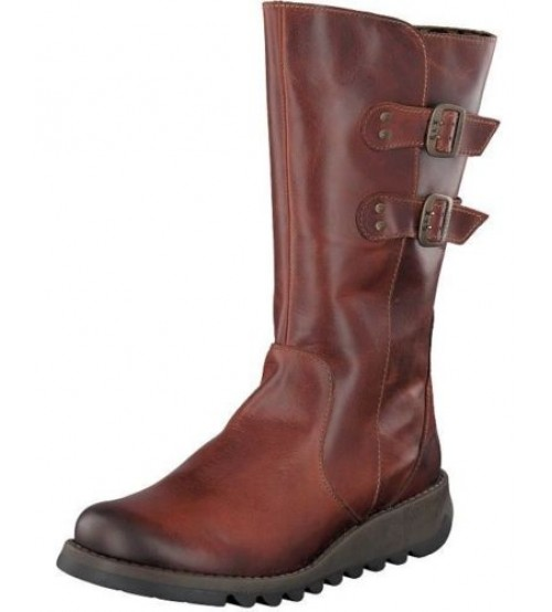 Fly london Suli Brick Leather Womens Mid Calf Boots