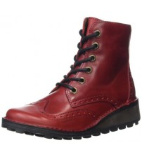 Fly london Marl Red Leather Womens Ankle Boots