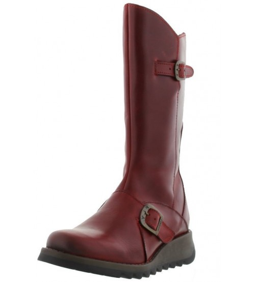Fly London Mes 2 Red Leather Womens Mid Calf Boots