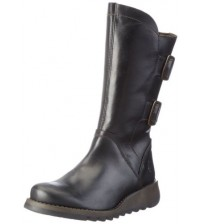 Fly london Sack785FLY Black Leather Womens Mid Calf Boots