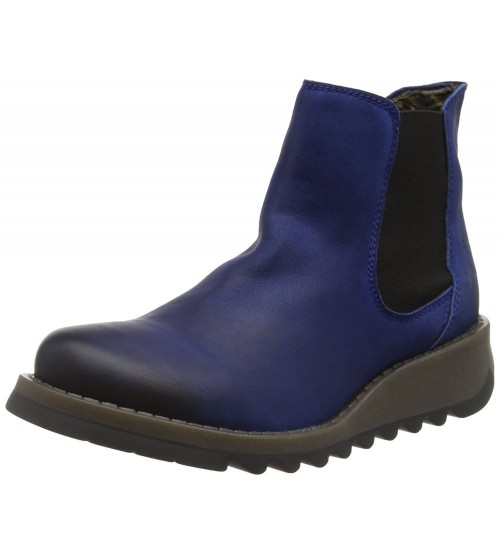 Fly london Salv Blue Leather Womens Ankle Boots