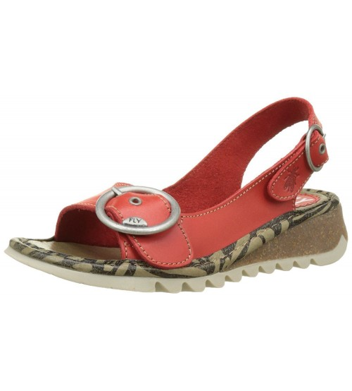 Fly London Tram Scarlet Womens Leather Slingback Sandals Shoes