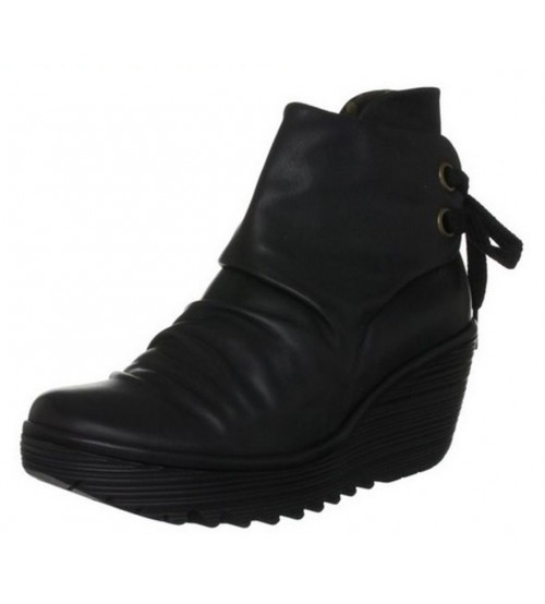 Fly London Yama Black Leather Women Wedge Ankle