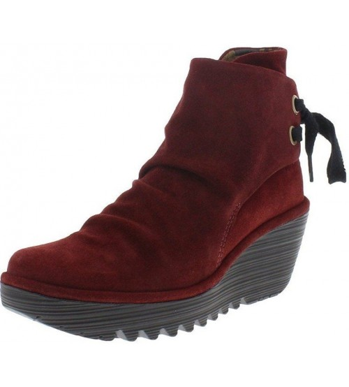 Fly london Yama Wine Suede Womens Wedge Ankle Shoes Boots