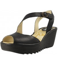 Fly london Yamp836fly Black Womens Leather Wedge Sandals Shoes