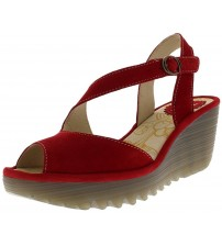 Fly london Yamp836fly Red Womens Leather Wedge Sandals Shoes