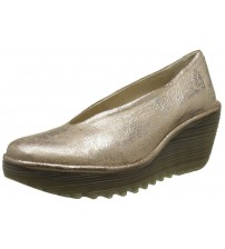 Fly London Yaz Gold Leather Womens Wedge Shoes