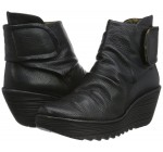 Fly london Yegi Black Leather Womens Wedge Ankle Shoes Boots