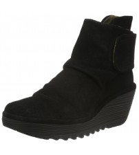 Fly london Yegi Black Suede Womens Wedge Ankle Shoes Boots
