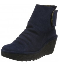 Fly london Yegi Blue Suede Womens Wedge Ankle Boots Shoes