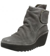Fly london Yegi Grey Suede Womens Wedge Ankle Boots Shoes