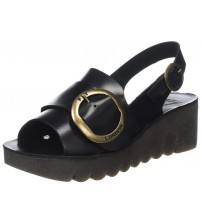 Fly london Yidi190fly Black Leather Womens Wedge Sandals Shoes