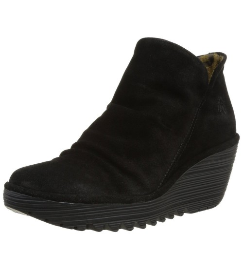 Fly london Yip Black Suede Women Wedge Ankle