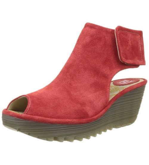 Fly london Yone642Fly Red Womens Suede Wedge Sandals Shoes