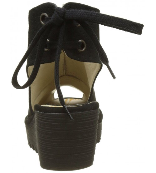 69814327151 Fly london Ypul799fly Black Womens Leather Wedge Sandals Shoes