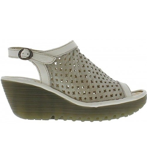 Fly London Yuti734fly Silver Off White Leather Womens Sandals