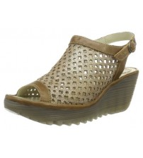 0b5f49456ae1 Sale Fly London Yuti734Fly Camel Leather Womens Wedge Sandals