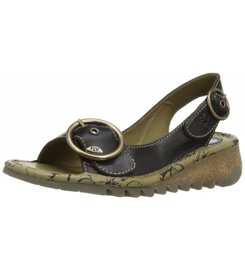 Fly London Tram Black Gold Women Leather Sandals