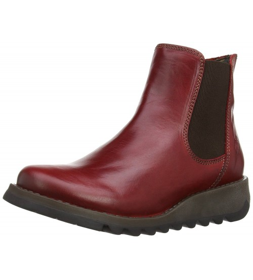 Fly london Salv Red Leather Womens Ankle Boots