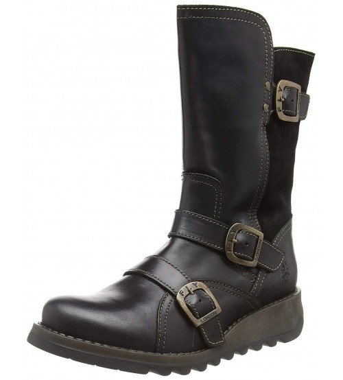 Fly london Selk350fly Black Leather Womens Mid Calf Boots