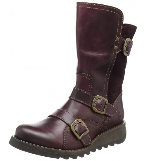 Fly london Selk350fly Purple Leather Womens Mid Calf Boots