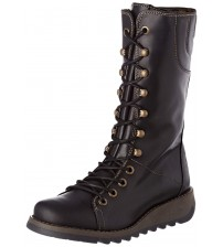 Fly london Ster768Fly Black Leather Womens Mid Calf Boots