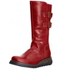Fly london Suli Red Leather Womens Mid Calf Boots