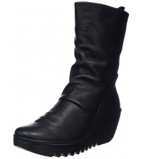 Fly london Yada Black Leather Womens Calf Wedge Boots