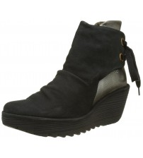 Fly london Yama Black Silver Womens Suede Wedge Ankle Boots