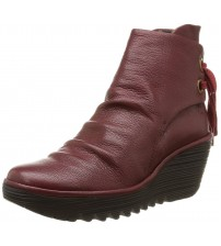 Fly london Yama Red Womens Leather Wedge Ankle Boots