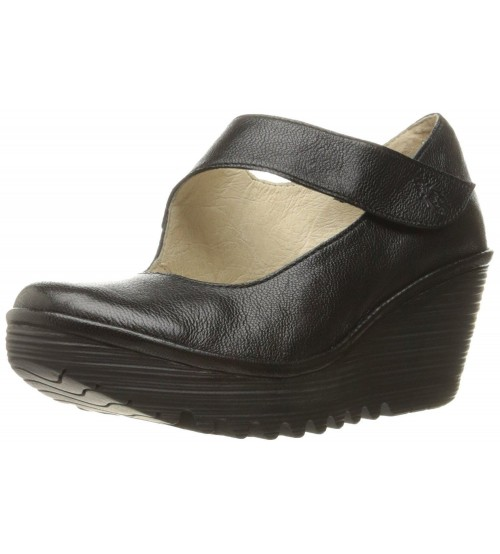 Fly london Yasi682fly Black Womens Leather Wedge Shoes