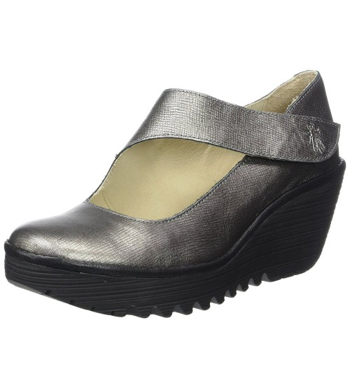 Fly london Yasi682fly Silver Womens Leather Wedge Shoes