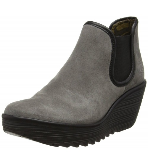 Fly london Yat Ash Black Suede Womens Wedge Ankle Boots