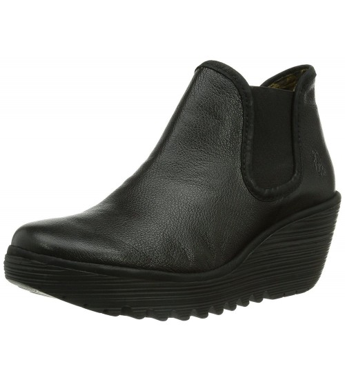 Fly london Yat Black Leather Womens Wedge Ankle Boots