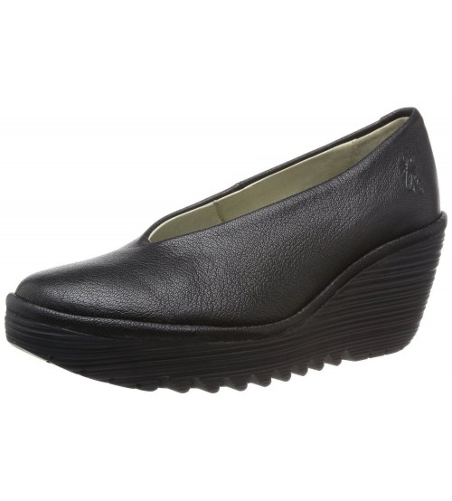 fly yaz black leather new womens wedge shoes boots