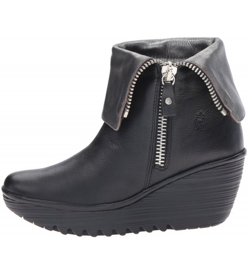 86c0ae5671ad Fly london Yex Black Silver Leather Womens Mid Calf Wedge Boots