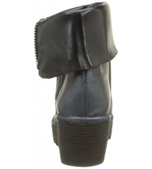 a4546208b33c Fly london Yex Blue Black Leather Womens Mid Calf Wedge Boots