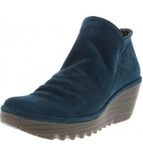 Fly london Yip Petrol Suede Womens Wedge Ankle Boots